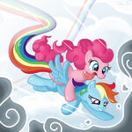 Pinkie Pie and Rainbow Dash in the air