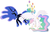 Princess Celestia and Nightmare Moon battle badly by artist-90sigma