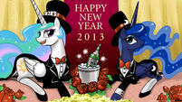 Princess Celestia and Princess Luna celebrate 2013 new year by artist-johnjoseco