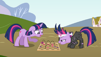 Twilight Sparkle and Future Twilight playing chess by artist-mandydax