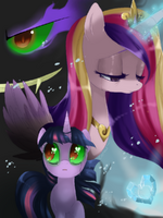 Twilight Sparkle and Princess Cadence crying of the Crystal Heart by artist-crenair