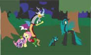 Discord, Chrysalis, and company in the forest