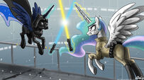 Princess Celestia and Princess Luna Star War wallpaper by artist-johnjoseco