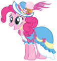 Pinkie Pie in a coronation dress with a hat.png