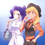 Applejack and Rarity by megarexetera
