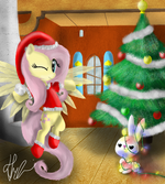 Fluttershy Christmas Pony by artist-bronyontheway