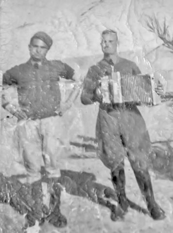 File:Guiseppe on the right North Africa WW II Seen here playing a button accordion .jpg