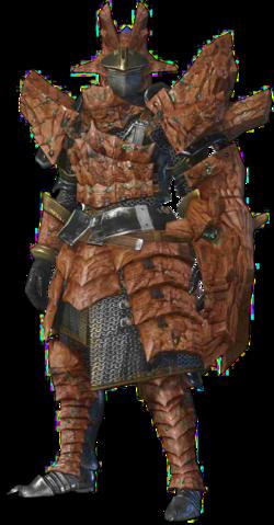 File:MHO-Sandstone Basarios Armor (Gunner) (Male) Render 001.png