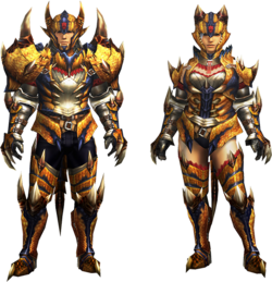 MH4U-Tigrex Rare Relic Armor (Blademaster) Render 001