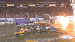 Controversial six truck jump