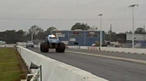 Kirk Dabney and Maximum Overkill set the land speed record for a Monster Truck at 84