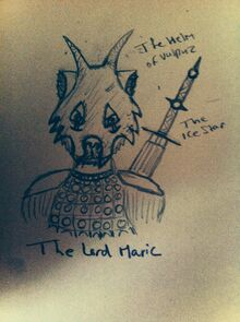 The Lord Maric wearing the Helm of Vulpuz.