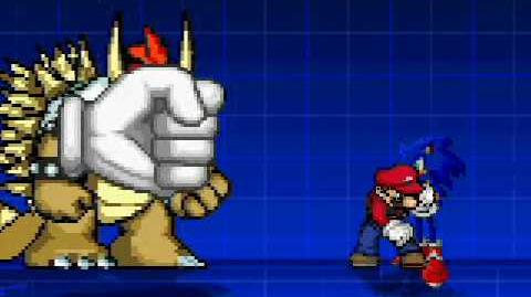 MUGEN master hand and giga bowser vs sonic and mario and download