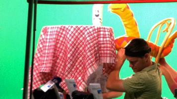 Matt Vogel performing worm green screen