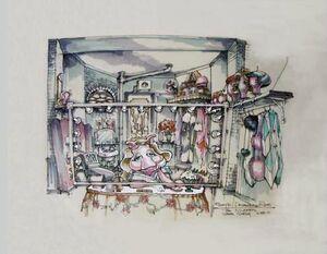 Piggy's dressing room sketch
