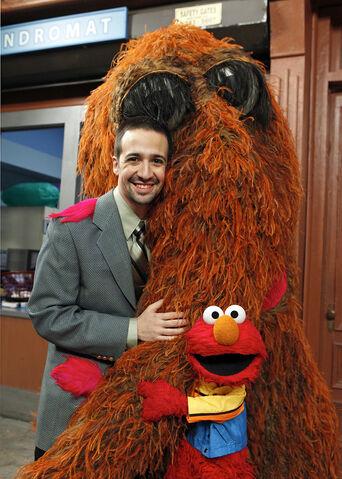 File:Lin-Manuel Miranda with Snuffy and Elmo.jpg