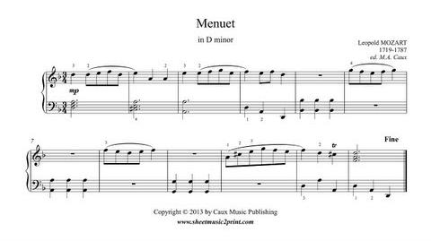 Leopold MOZART Menuet in D minor - Notebook for Wolfgang