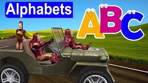 Iron Man Jeep ABC Song Alphabet Song for Kids Baby Rhyme Famous Cartoon Rhyme