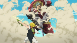 Twigo trying to slice Meliodas, but he repels his attack