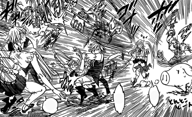 File:Meliodas protecting Elizabeth from Golgius attacks while running.png