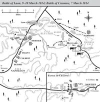 Battles of Laon and Craonne map 1814