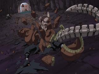 Sakura smashes Hiruko puppet