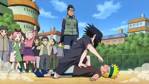 Naruto and Sasuke spar