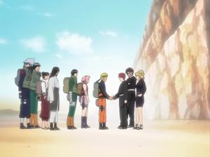 Naruto shakes hands with Gaara