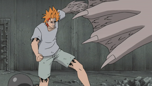 Jugo preparing to attack Sasuke