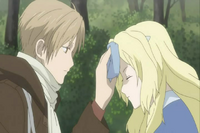 Natsume putting handkerchief on the bruise head