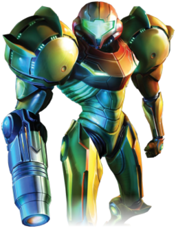 A person in a big, futuristic-looking powered suit with a helmet. The right arm is a large firearm. The shoulders are particularly large, bulky, and rounded.