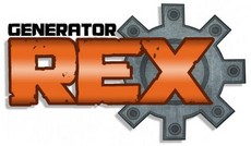 "The word ""GENERATOR"" appears in black small caps above the word ""REX"" in orange, both of which are behind a grey gear. ""CREATED BY MAN OF ACTION"" is under the gear in black small caps."