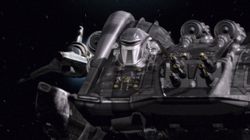 Cylon Heavy Raider Landing on Galactica