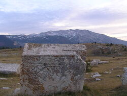 Ancient Bogumil's tombstones ( stecak ) , Cvrsnica in the background. November 2006 (246040)