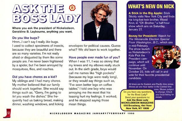 File:Nickelodeon Magazine February 1996 Ask the Boss Lady Geraldine Laybourne interview.jpg