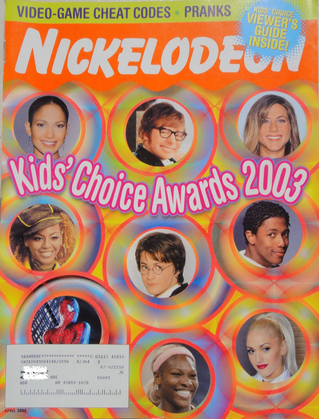 Nickelodeon Magazine Cover April 2003 Kids Choice Awards