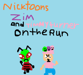 Nicktoons Zim and Timmy Turner on the run