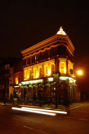 The Pineapple Pub at night