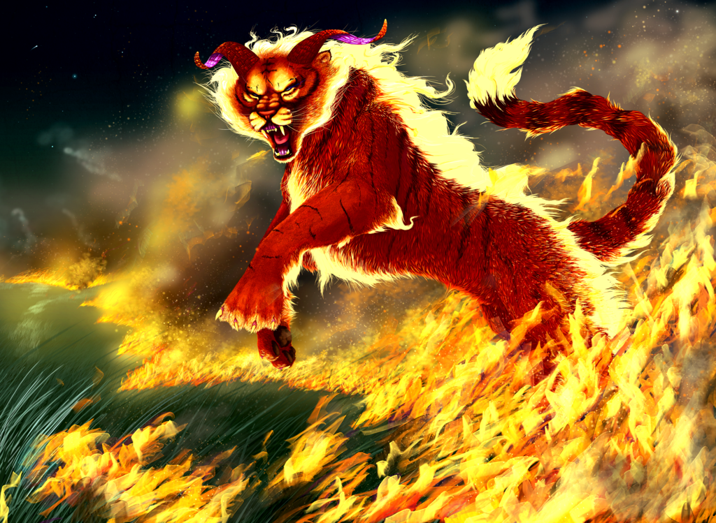 Fiery Treble Clef In Rainbow Flames: Image - Fire Tiger-Nya.png