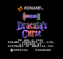 Castlevania III Title Screen
