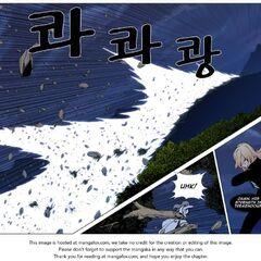 Muzaka's attack destroys a mountain range.