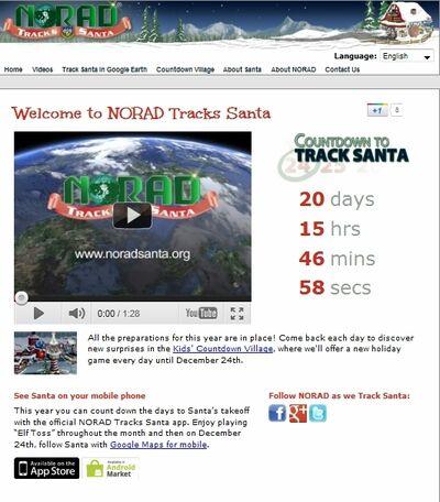 NORAD Tracks Santa - Homepage - Pre-Xmas - 2011