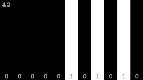 Binary Numbers from to 2047 - Black and White Patterns