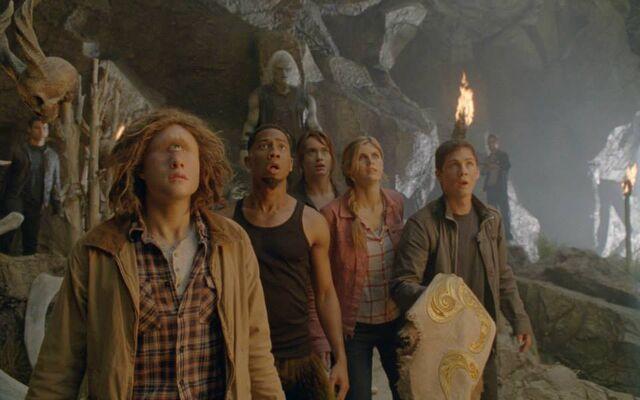 File:Tyson, GROVER, Annabeth and Percy inside the Island Cave.jpg
