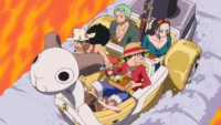 Straw Hats Riding Mini Merry Over Sea of Fire