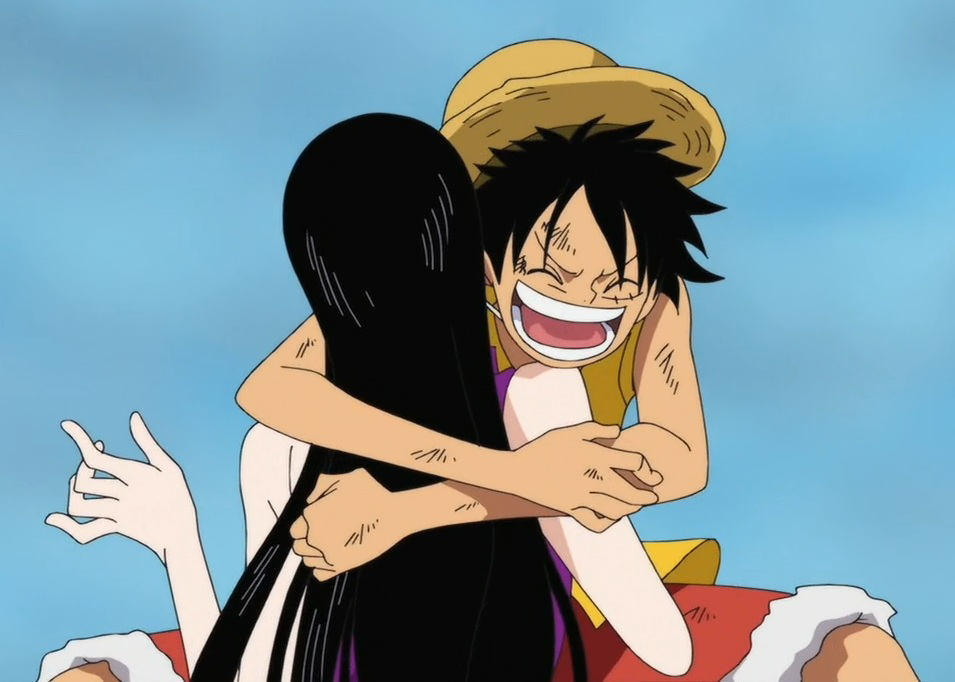 Luffy Hugs Hancock at Marineford