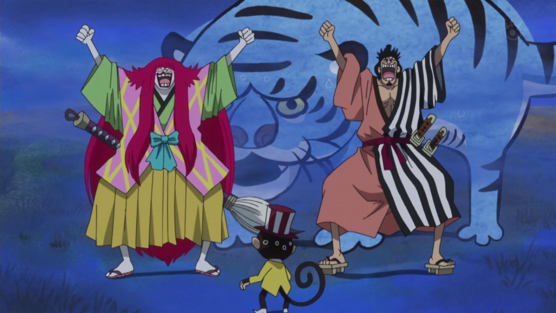 Archivo:Kin'emon y Kanjuro llegan a Zou.png | One Piece ...
