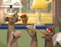 Oobi, Uma, Kako and Grampu in Bedroom - Noggin Nick Jr Nickelodeon Hand Puppets TV Show Series