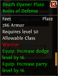 Death opener plate boots of defense