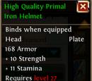 High Quality Primal Iron Helmet